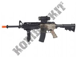 Colt M4 RIS Automatic Electric Airsoft Machine Gun Black and Smoked